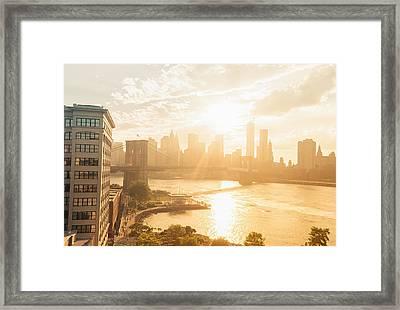 Sunset - Brooklyn Bridge - New York City Framed Print by Vivienne Gucwa