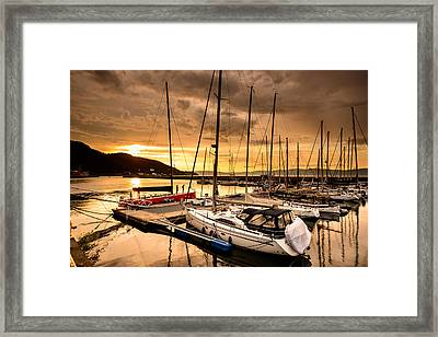 Sunset By The Docks Framed Print by Catalin Tibuleac