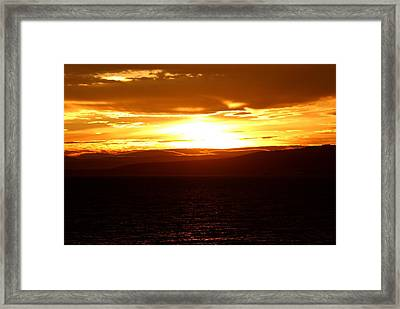 Sunset By The Fjord Framed Print