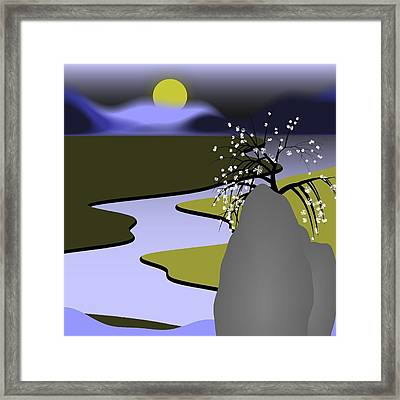 Sunset By The River Framed Print by GuoJun Pan