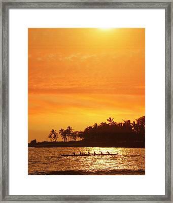 Sunset Canoe Framed Print by Athala Carole Bruckner