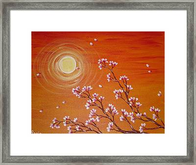 Sunset Cherry Blossoms Framed Print by Angie Butler