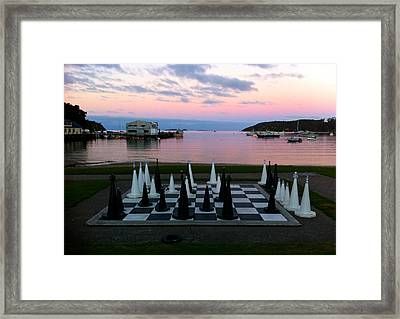 Sunset Chess At Half Moon Bay Framed Print by Venetia Featherstone-Witty