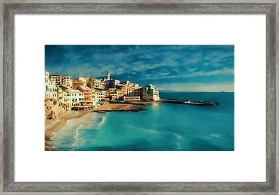 Framed Print featuring the painting Sunset Cinque Terre by Douglas MooreZart