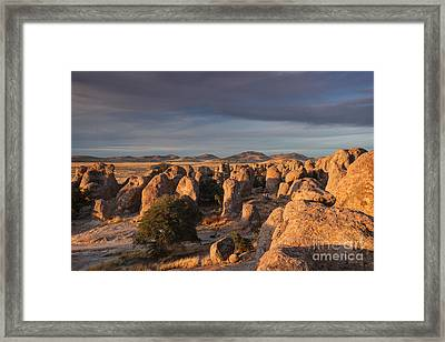 Framed Print featuring the photograph Sunset City Of Rocks by Martin Konopacki