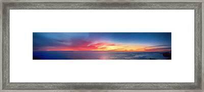 Sunset Cliffs Panorama Painting Framed Print by John Haldane