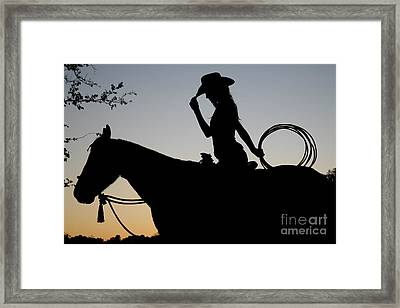 Sunset Cowgirl With Horse Framed Print