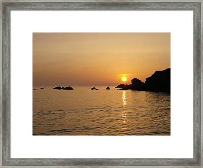 Sunset Crooklets Beach Bude Cornwall Framed Print