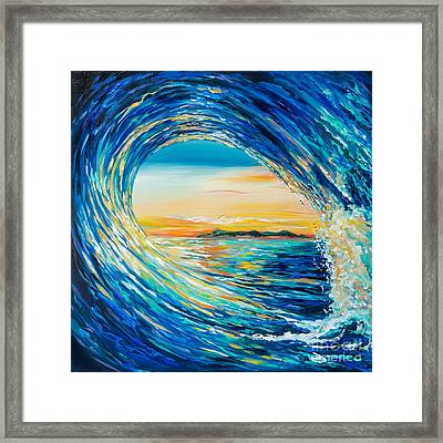 Framed Print featuring the painting Sunset Curl by Linda Olsen