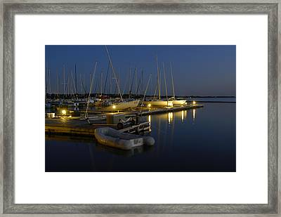 Sunset Dock Framed Print by Charles Beeler
