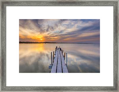 Sunset Dock Framed Print by Peter Tellone