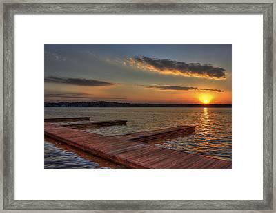 Sunset Docks On Lake Oconee Framed Print by Reid Callaway