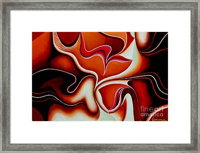 Sunset Dream - Abstract Oil Painting Original Modern Contemporary Art House Wall Deco Framed Print by Emma Lambert
