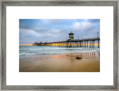 Sunset Drifting Under The Pier Framed Print
