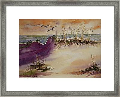 Framed Print featuring the painting Sunset Dunes by Roxanne Tobaison
