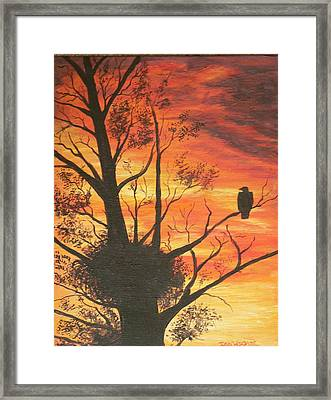 Framed Print featuring the painting Sunset Eagle by Dan Wagner