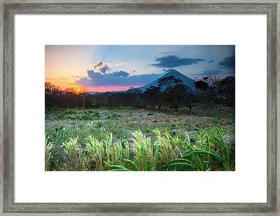 Sunset Falls Behind The Concepcion Framed Print