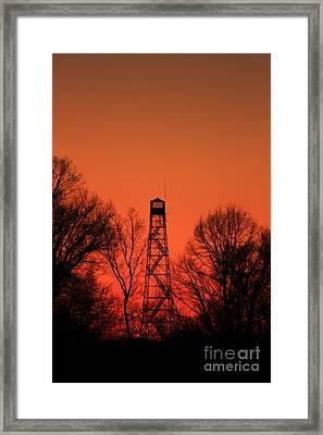 Sunset Fire Tower In Oconee County Framed Print by Reid Callaway