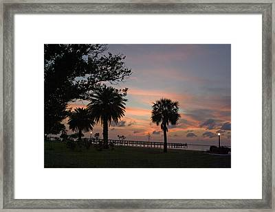 Framed Print featuring the photograph Sunset Fisherman by Judy  Johnson