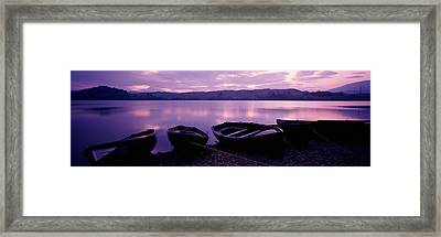 Sunset Fishing Boats Loch Awe Scotland Framed Print by Panoramic Images