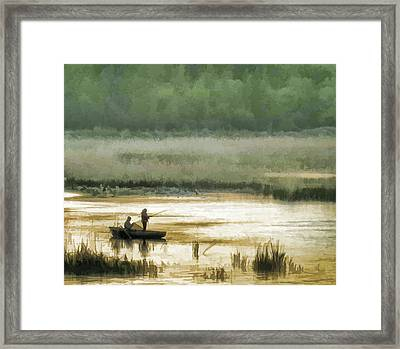 Sunset Fishing On The Volga Framed Print by Glen Glancy