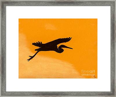 Framed Print featuring the drawing Sunset Flight by D Hackett