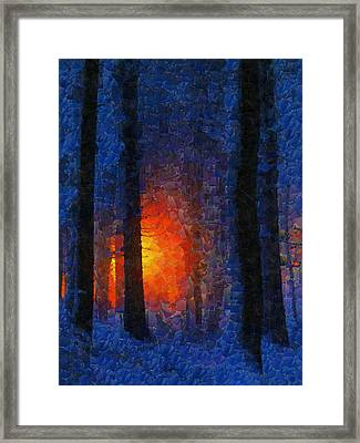 Sunset Forest Winter Framed Print