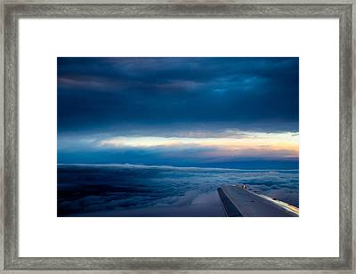 Framed Print featuring the photograph Sunset From Above The Clouds by Cathy Donohoue
