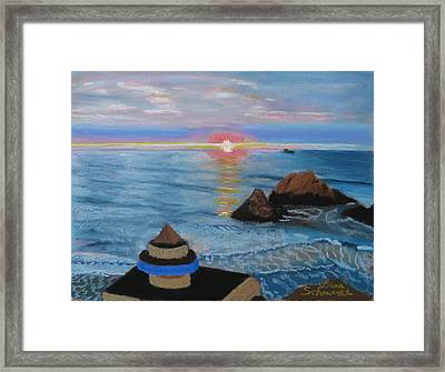 Sunset From Cliff House Restaurant At San Francisco Framed Print