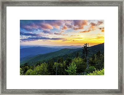 Sunset From Clingmans Dome Framed Print by Anthony Heflin