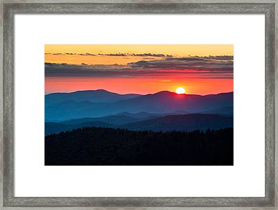 Sunset From Clingman's Dome - Great Smoky Mountains Framed Print by Dave Allen