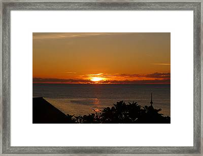 Sunset From Terrace - St. Lucia 2 Framed Print by Nora Boghossian