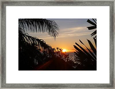 Sunset From Terrace - St. Lucia Framed Print by Nora Boghossian