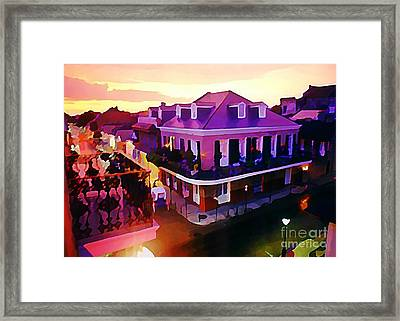 Sunset From The Balcony In The French Quarter Of New Orleans Framed Print by John Malone