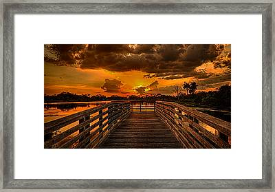 Sunset From The Dock Framed Print by Don Durfee