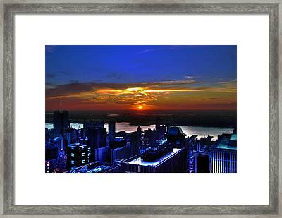 Sunset From The Empire State Building Framed Print by Randy Aveille