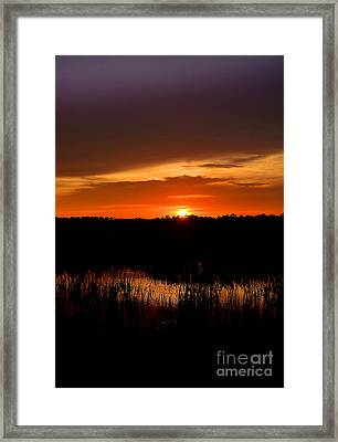 Sunset From The Huntington Beach Causeway Framed Print by Kathy Baccari