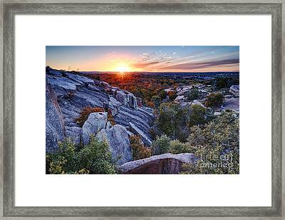 Sunset From The Top Of Little Rock At Enchanted Rock State Park - Fredericksburg Texas Hill Country Framed Print