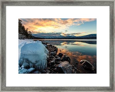 Sunset Frozen Framed Print by Aaron Aldrich