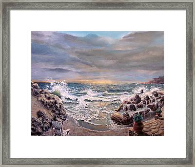 Framed Print featuring the painting Sunset by Geni Gorani