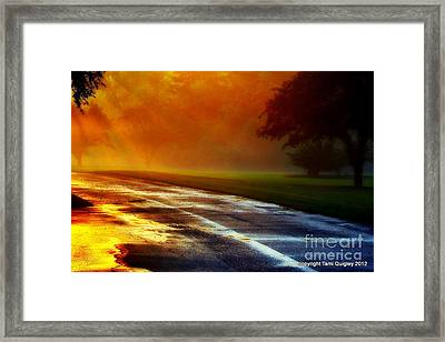 Sunset Glint In The Mist Framed Print