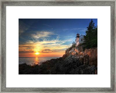 Sunset Glow At Bass Harbor Framed Print by Lori Deiter