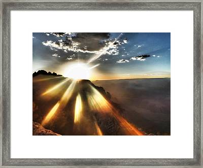 Sunset Grand Canyon Framed Print by Lorella  Schoales