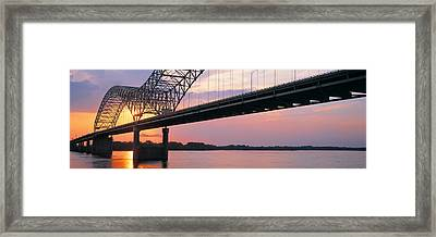 Sunset, Hernandez Desoto Bridge And Framed Print by Panoramic Images