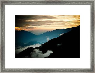 Sunset Himalayas Mountain Nepal Panaramic View Framed Print by Raimond Klavins