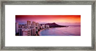 Sunset Honolulu Oahu Hi Usa Framed Print