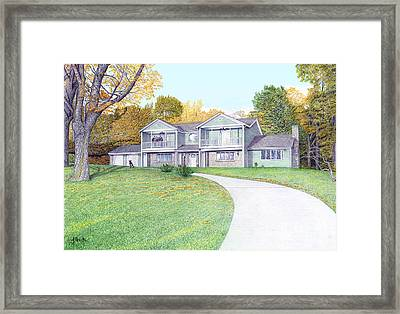 Sunset House In Fall Framed Print by Albert Puskaric