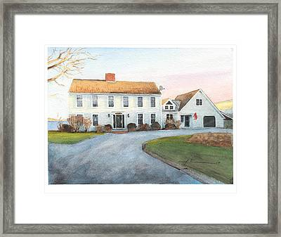Sunset House Watercolor Portrait Framed Print by Mike Theuer