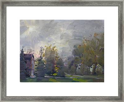 Sunset In A Foggy Fall Day Framed Print by Ylli Haruni