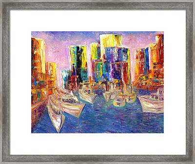Sunset In A Harbor Framed Print by Helen Kagan